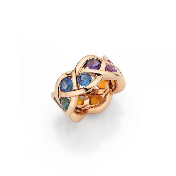 "Roségold Ring ""Fleur"" mit Saphir"