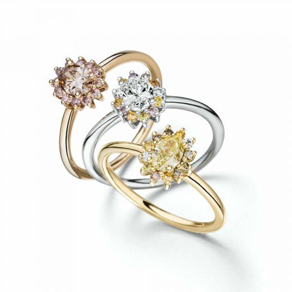 """Weißgold Ring """"La Fleur"""" mit naturfarbenen Diamanten"""