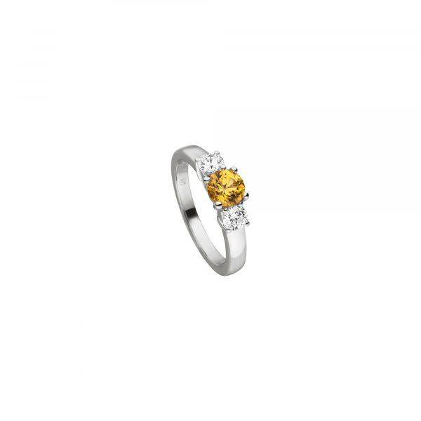 Weißgold Ring mit Saphir und Brillant von Kollektion Fridrich bei Juwelier Fridrich in München