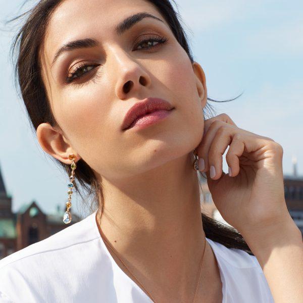 Roségold Ohrhänger mit Farbedelsteinen