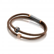 Carbonarmband braun in Titan-Rotgold mit M-Würfel in Titan von Meister bei Juwelier Fridrich in München