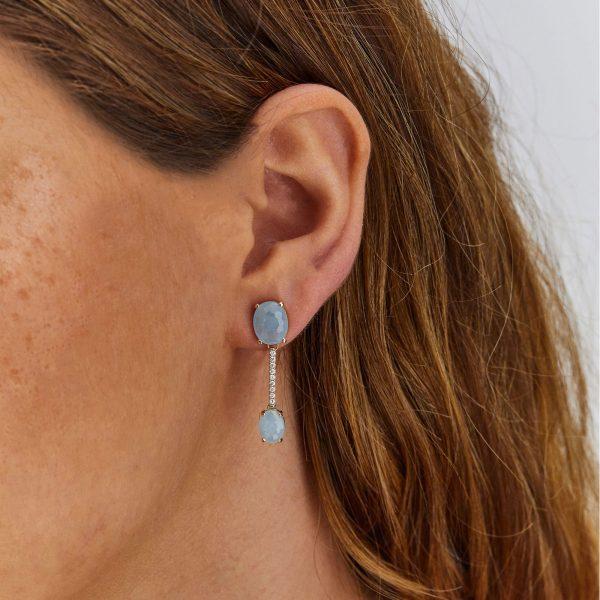 Gelbgold Ohrhänger mit Aquamarin und Brillanten