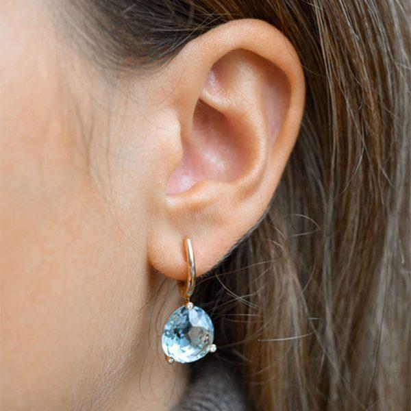 Roségold Ohrhänger mit Blautopas