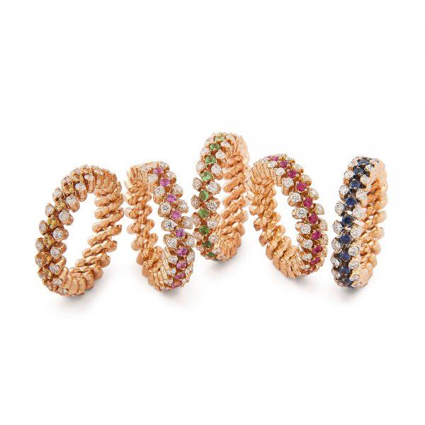 Brevetto Roségold Multi Size Ring mit Brillanten und Saphiren