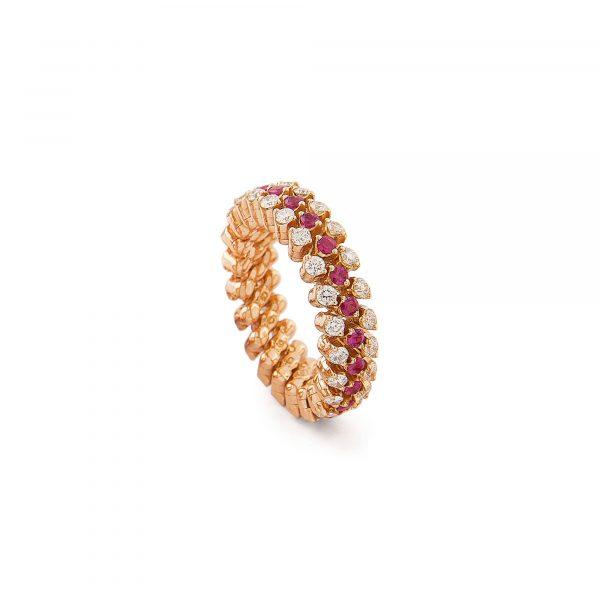 Brevetto Roségold Multi Size Ring mit Brillanten und Rubinen von Serafino Consoli bei Juwelier Fridrich in München