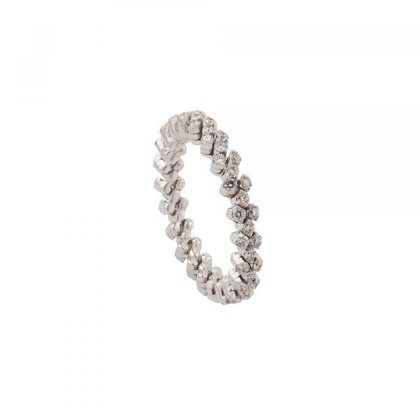 Brevetto Classic Weißgold Multi Size Ring mit 3 Brillant-Reihen