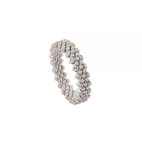 Brevetto Classic Weißgold Multi Size Ring mit 5 Brillant-Reihen
