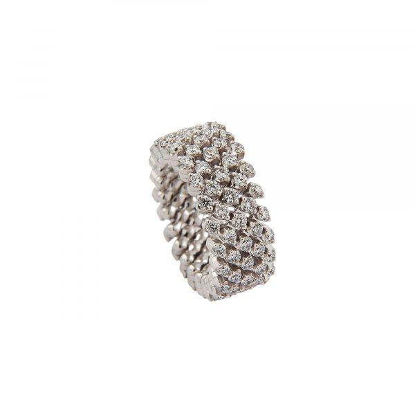 Brevetto Classic Weißgold Multi Size Ring mit 5 Brillant-Reihen von Serafino Consoli bei Juwelier Fridrich in München