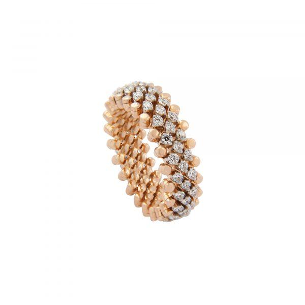Brevetto Classic Roségold Multi Size Ring mit 5 Brillant-Reihen