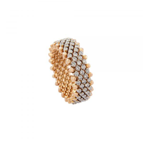 Brevetto Classic Roségold Multi Size Ring mit 7 Brillant-Reihen