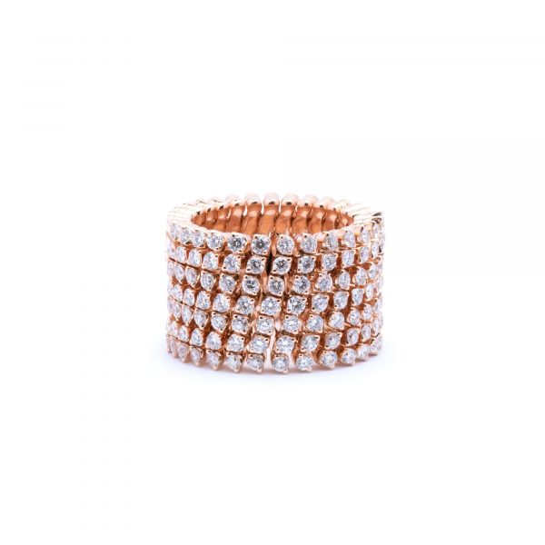 Serafino Roségold Multi Size Ring und Armband mit 7 Brillant-Reihen
